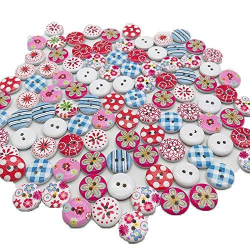 Heatigo Bunte Knöpfe,200 Stück Knöpfe zum Basteln/Nähen Runde Bedruckte Knöpfe Gemischt mit Farbigen Holzknöpfen 15mm