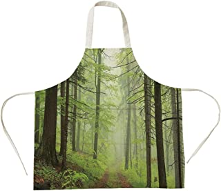 3D Printed Cotton Linen Big Pocket Apron,Outdoor,Trail Trough Foggy Alders Beeches Oaks Coniferous Grove Hiking Theme,Light Green Light Yellow,for Cooking Baking Gardening