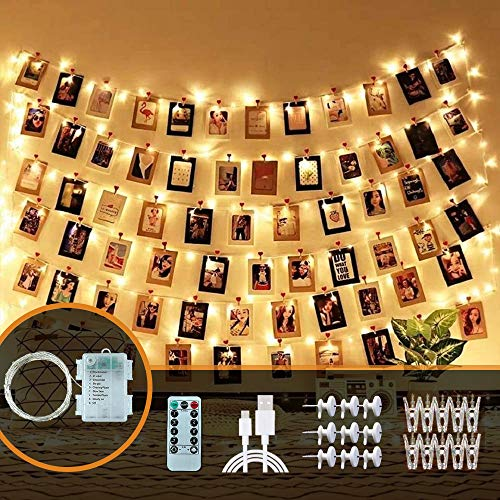 Trongle LED Photo Clip String Lights, 10M/100 LED Bulbs Fairy Lights with 60 Clips, Hanging Photo Peg Wall Decor with Wireless Remote Decorations for Bedroom, Party, Wedding, Christmas(Warm White)