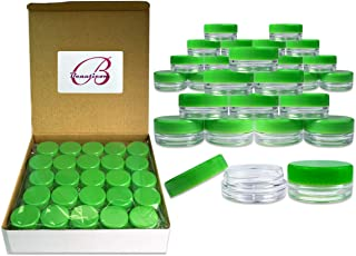 (Quantity: 100 Pieces) Beauticom 3G/3ML Round Clear Jars with GREEN Lids for Scrubs, Oils, Toner, Salves, Creams, Lotions, Makeup Samples, Lip Balms - BPA Free