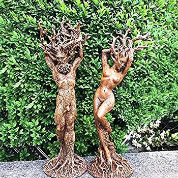 N.D 6.3 Forest God and Goddess Statue Green Man Statue Tree God Sculpted Dryad Tree Spirit Hand Painted Resin for Garden Home Office Desktop Decoration