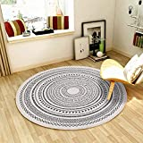 SHACOS Cotton Round Woven Rug with Tassels Handmade Washable Throw Print Cotton Area Rug for Living Room Bathroom Bedroom (4 ft, Simple Gray)