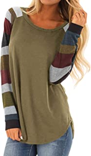 Yidarton Womens Tops Shirts Long Sleeve Casual Blouses Round Neck Loose Soft Striped Tunics