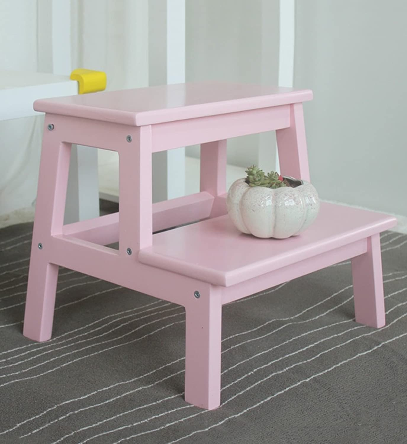 Djyyh Ladder Step Stool Solid Wood Household Small Mazar Changing His shoes Stool Stairs Simple 2-Tier Ladder, 6 colors Optional (color   Pink)