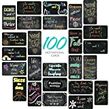 SpringFlower 100 Pack Motivational Quote Cards-Positive Affirmation, Encouragement, Inspirational and Kindness note cards For Kids' Lunch Box-Chalkboard Design(Business Card Size and Blank Back)