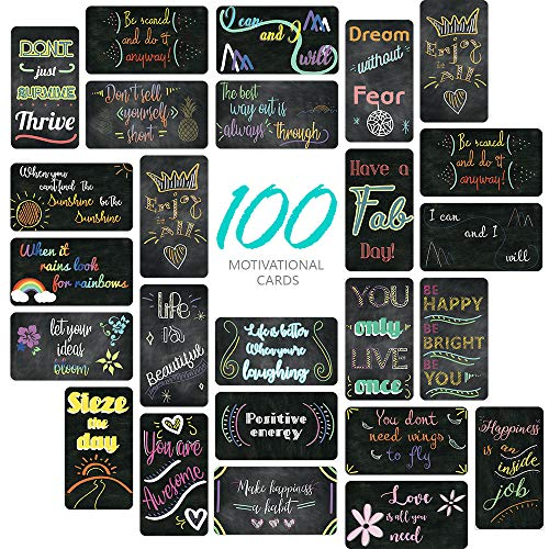 SpringFlower 100 Pack Motivational Quote Cards-Positive Affirmation, Encouragement, Inspirational and Kindness note cards-Chalkboard Design(Business Card Size and Blank Back)