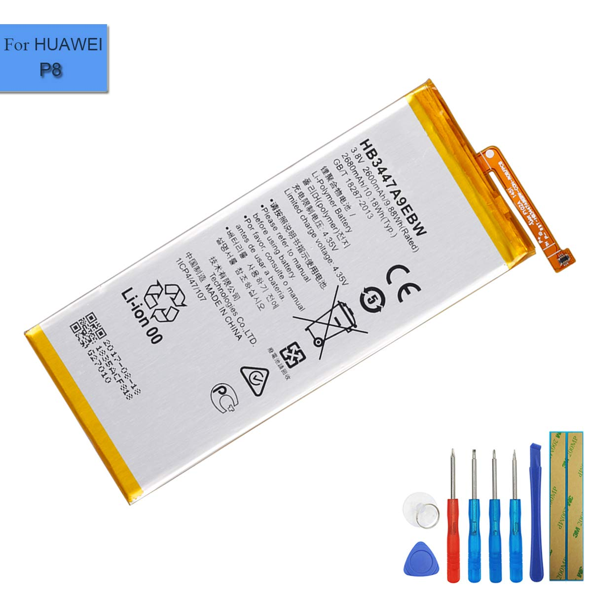 Li-Polymer Replacement Battery HB3447A9EBW Compatible with Huawei P8 GRA-UL00 Ascend P8 GRA-CL00 GRA-CL10 GRA-TL10 with Tools