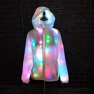 AoTin Damen/Männer LED Leichter Mantel Bunte Leuchtende Halloween-Jacke Weißer Mantel Party Kapuzen-Freizeitoberteil Festkleidung