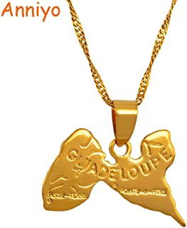 Pendant Necklaces - Map of Guadeloupe Necklace Pendants 45cm/60cm Chain for Women Gold Color Jewelry France Guadeloupe map #008010 1 PCs