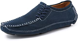 XinQuan Wang Men's Driving Loafer Round Toe Flat Heel Solid Color Splice Vamp Slip on Shoes (Color : Blue, Size : 8 UK)