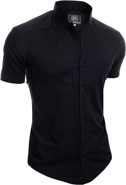 Camisa de Sin Cuello Mao para Hombre Manga Corta Formal Vacaciones Comfort Slim