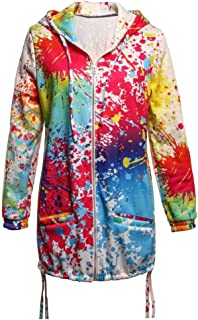 Loosnow Women Rainbow Graffiti Style Jacket Coat Printing Long Sleeve Breathable for Autumn