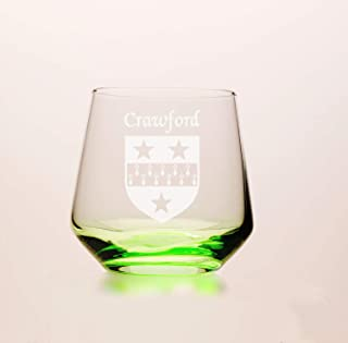 Crawford Irish Coat of Arms Green Tumbler Glasses - Set of 4 (Sand Etched)
