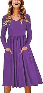 Women's Long Sleeve Dress T Shirt Swing Dresses Casual Flare Midi Dress with Pockets