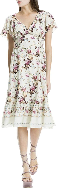 Max Studio London Womens Smocked Ruffled Flounce Dress
