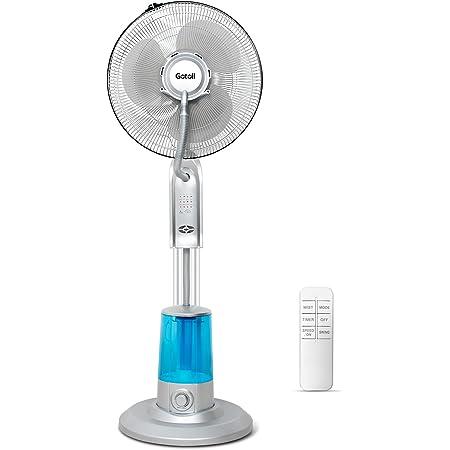 Gotoll Ventilateur Brumisateur avec Télécommande, 2 en 1 Ventilateur sur Pied Humidificateur 3.2L Rafraichisseur d'air Minuterie Ventilateur Oscillant pour Chambre Bureau - Argent
