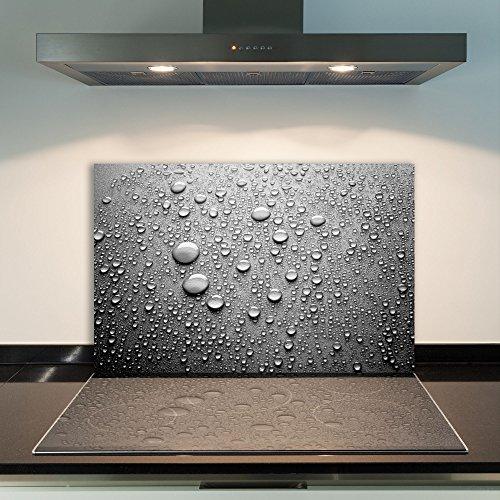 DAMU | Ceranfeldabdeckung 1 Teilig 80x52 cm Herdabdeckplatten aus Glas Natur Regen Grau Elektroherd Induktion Herdschutz Spritzschutz Glasplatte Schneidebrett