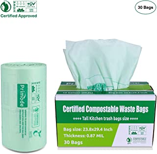 Compostable Bags by Primode | Premium Food Waste Bags, 100% Certified Biodegradable Compost Bags Tall Kitchen 13 Gallon Trash Bags, Extra Thick 0.87 (30)