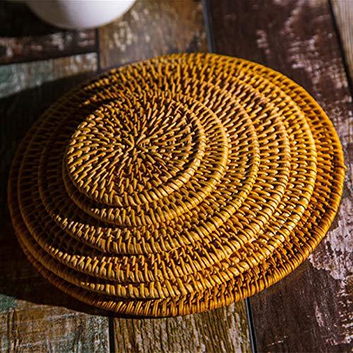 XKMY Cesta de almacenamiento con aislamiento térmico para tazas de forma redonda, hecha a mano, decoración de comedor, cocina, mantel individual de ratán natural, posavasos de mesa (tamaño : 8 cm)