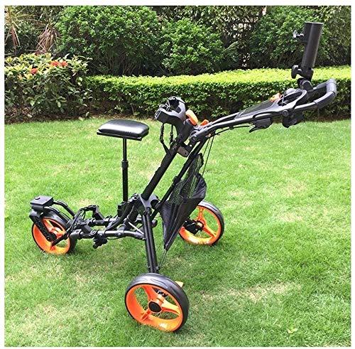 Carritos De Mano con Ruedas Golf Push Carro Carrito de Golf Carrito de Golf Rueda Delantera 360 ° Arena giratoria Grano Negro con Asiento