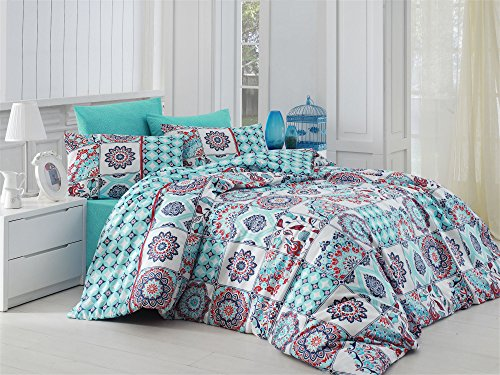 Bedding Set Linen King Psychedelic Ombre Lotus Quilt 220x240 cm Duvet Cover Paisley Mandala Mystic Nirvana Hippie Gypsy Green Blue Red Indian African Ethnic Reactive Yoga Oriental Buddha Terra Cotta
