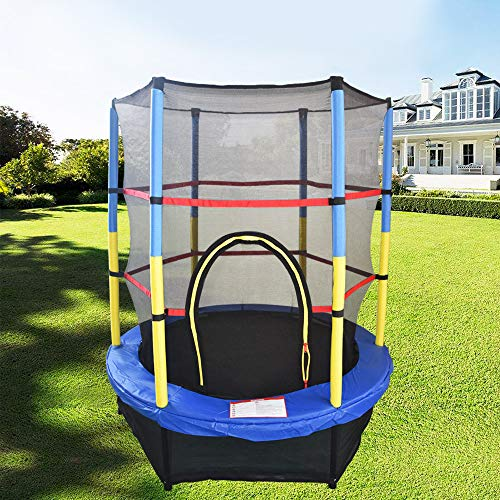Greenbay 55inch 4.5FT Kid Indoor Outdoor Trampoline Set with Skirt and Safety Net Blue