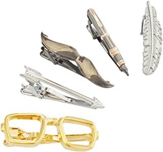 Mens Tie Bar Clip Gift Set of Gold Glasses, Black Beard & Pen, Silver Arrow & Feather for Jewelry Gift
