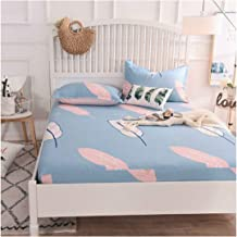 Kankanm Cotton Blue Bed Sheets Fitted Sheet Elastic Rubber Mattress Cover Bedding Twin Full Queen Bed Size 90/120/140/150/160X200cm,Fitted Sheet 8,200cmx220cm 3Pcs