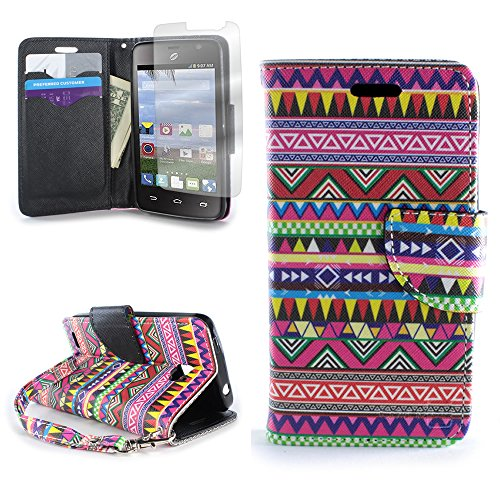 CoverON for ZTE Zephyr/Paragon Wallet Case [Carryall Series] Flip Credit Card Phone Design Pouch (Tribal Aztec) - with Clear Screen Protector & Wristlet Strap