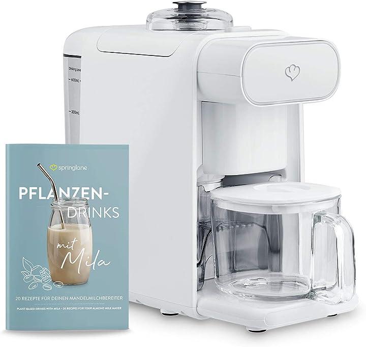 ?springlane kitchen macchina per prepararazione latte di noci mila, frullatore con filtro per latte vegetale - 0,6 litri 943767