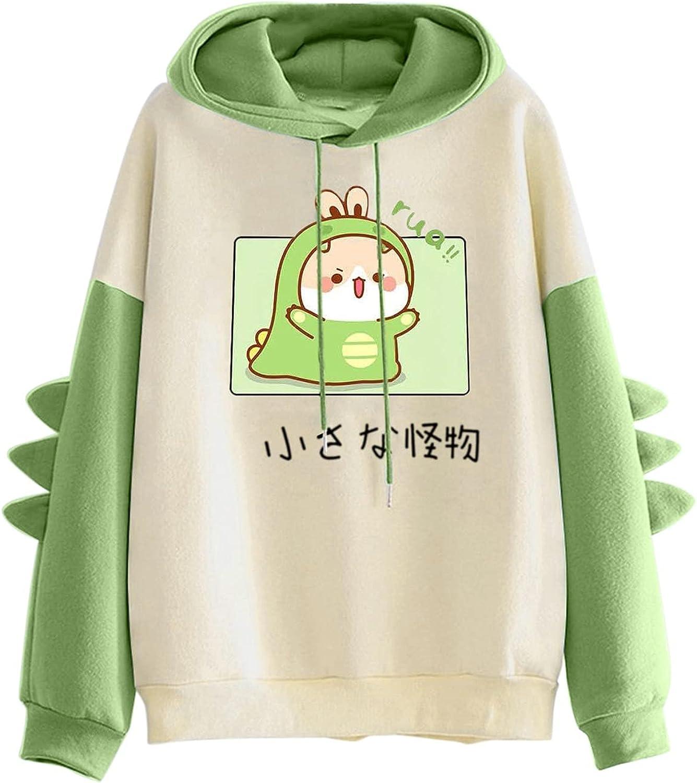 FABIURT Women's Teen Girls Kawaii Dinosaur Long Sleeve Hoodies Casual Loose Sweaters Cartoon Animal Sweatshirt Pullover