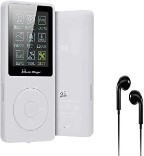 Lychee 8GB MP3 Player 70 Stunden Wiedergabe,unterstützt Micro SD Karte,bis 64GB und es kann 1500 Songs Aufnehmen Musik Player (Weiß)
