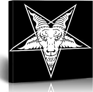 Ahawoso Canvas Print Wall Art 12x12 Inch Lucifer Satanic Goat Head On Pentagram Twin Baphomet for Tattoo Emblem Satan Alchemy Modern Artwork Printing Home Decor Wrapp Gallery Painting