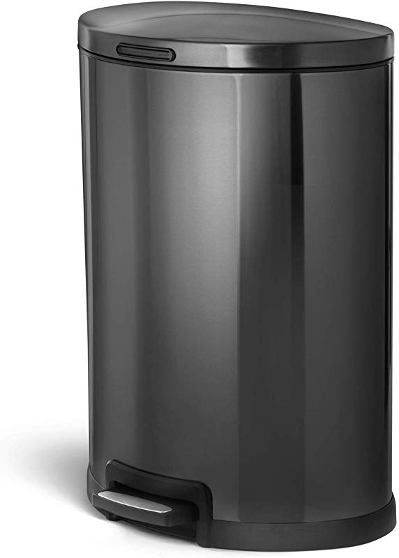 Home Zone Living VA41835A 45 Liter 12 Gallon Stainless Steel Trash Can Semi Round Pedal Black