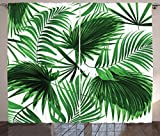 Ambesonne Palm Leaf Curtains, Realistic Vivid Leaves of Palm Tree Growth Ecology Botany Themed Print, Living Room Bedroom Window Drapes 2 Panel Set, 108' X 96', Fern Green