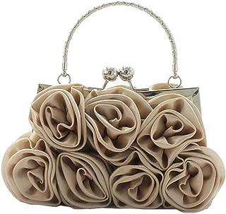 Ladies Elegant Rose Floral Handbag - Pure Color Evening Wedding Party Bridal Portable Clutch Bag