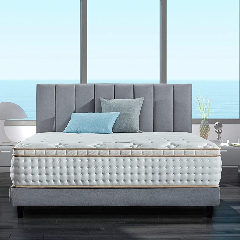 BedStory 12 Inch Queen Mattress Gel Infused Memory Foam Mattress With Pocket Coil And Euro Top Design Firm Bed Mattress With CertiPUR US Certified Foam