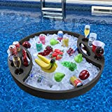 Polar Whale Extra Large Round Floating Bar Table Serving Tray and Drink Holder for Swimming Pool or Beach Party Float Lounge Refreshment Durable Black Foam UV Resistant with Cup Holders 3 Feet Wide