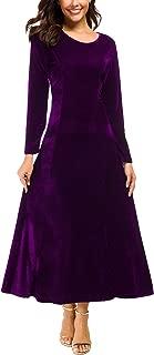 Women's Elegant Long Sleeve Ruched Velvet Stretchy Long Dress