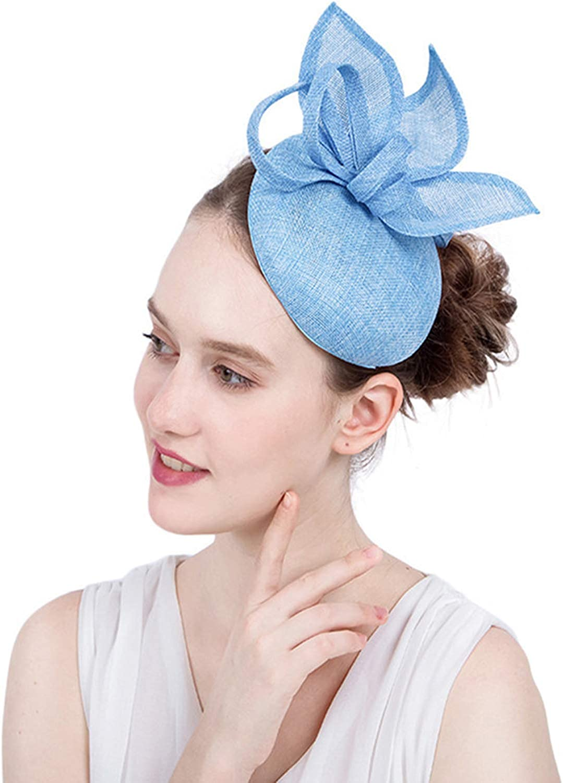 ORIDOOR Sinamay Fascinator Flower Feathers Pillbox Hat Headband Hair Clips for Derby Cocktail Wedding Tea Party