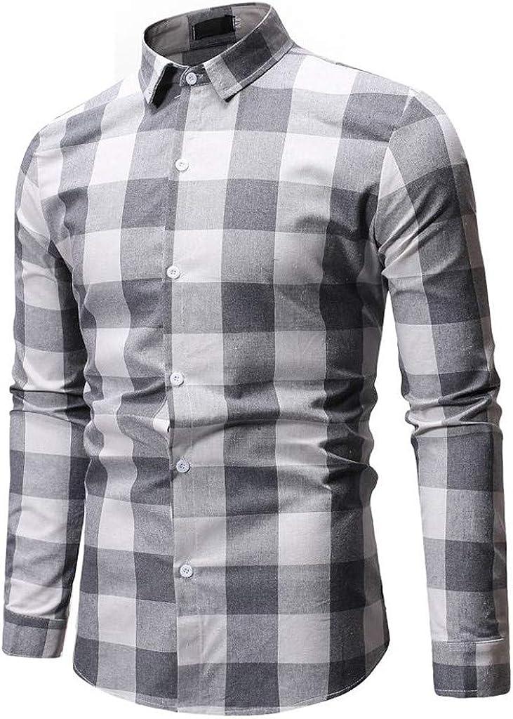Men's Slim Fit Plaid Long Sleeve Button Down Pocket Dress Shirts Top