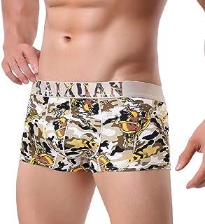 Men's Sexy Ice Silk Hollow Breathable Mesh Boxer Briefs (Color : Khaki, Size : L)