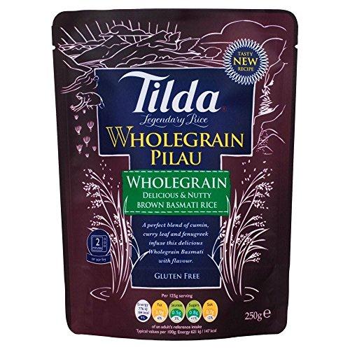 Tilda Gedämpfte Brown Basmati-Reis, Vollkorn, Pilau (250g) - Packung mit 2