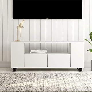 UnfadeMemory Mueble para TV con Ruedas y 2 CajonesMueble de HogarMadera Aglomerada120x35x43cm (Blanco)