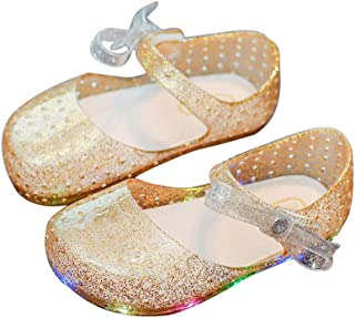 Cute LED Lighting Bow Princess Minnie Sandals Jelly Shoes Kids Girls Toddler