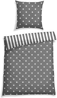 Schiesser Bettwäsche Feinbiber Sterne, Größe: 135 cm x 200 cm, Silber, 100% Baumwolle