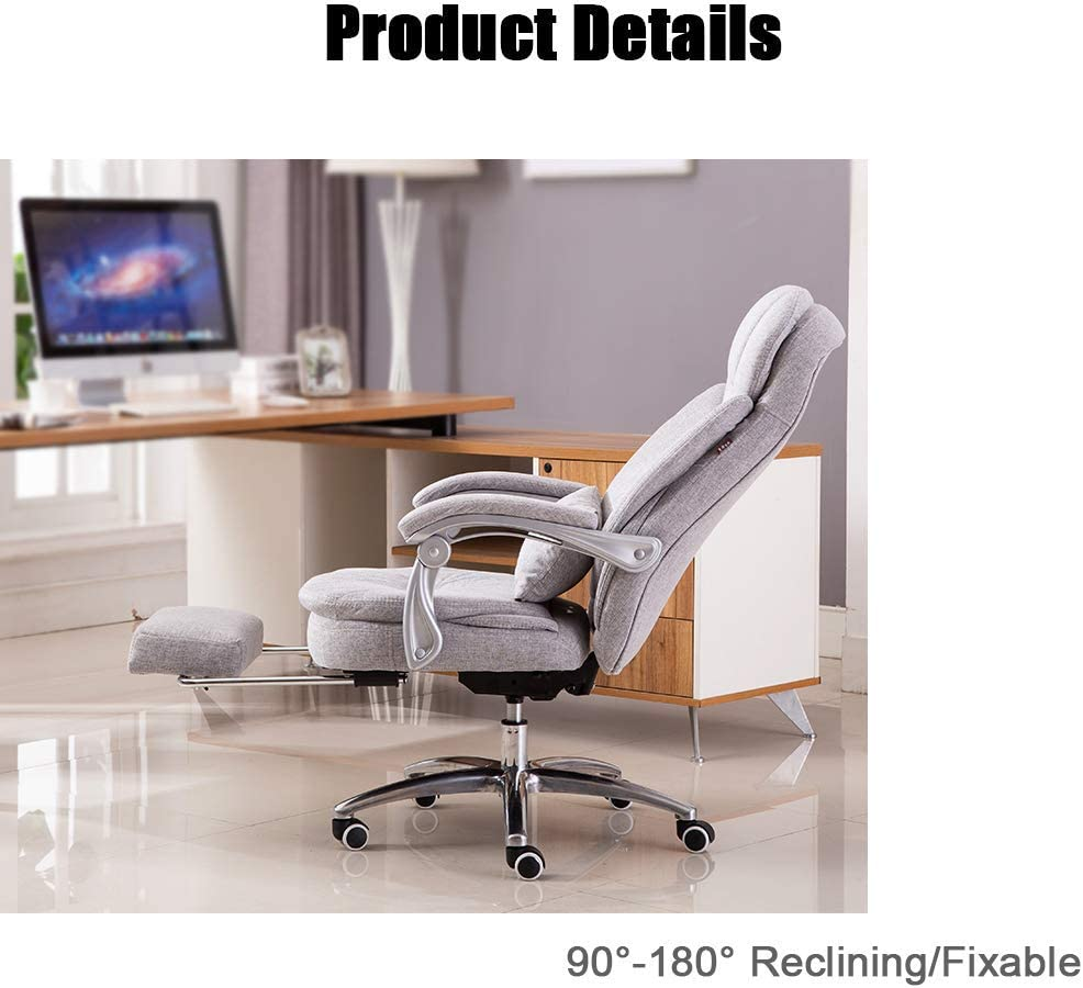 GUOOK Chaises de Bureau exécutives Big Headrest |Chaise de Bureau à Haut Dossier pour la Maison/Bureau |Tabouret en Lin |Système d'inclinaison et Main Courante Blue