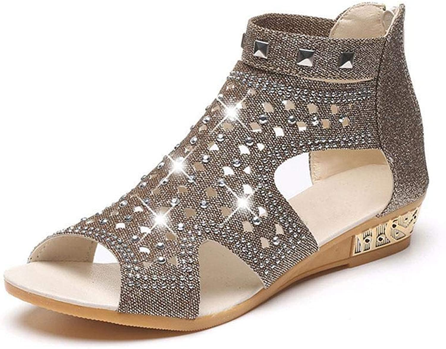 LEANO Women Fashion Rhinestone Rivet Flat Sandals Wedge Heel Summer shoes Sandals