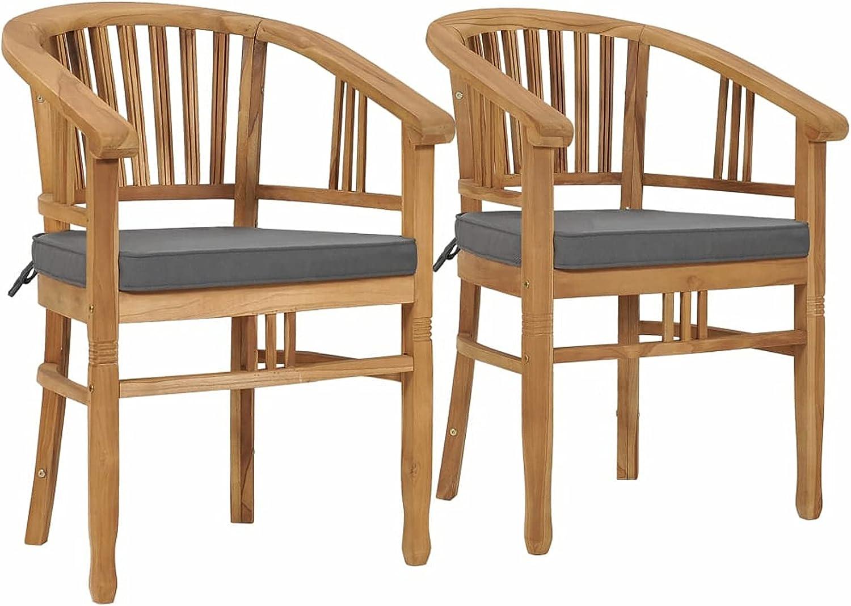 Tidyard 2 Piece Garden Chairs with Teak Cushion Gray Outdoo Wood Max overseas 63% OFF