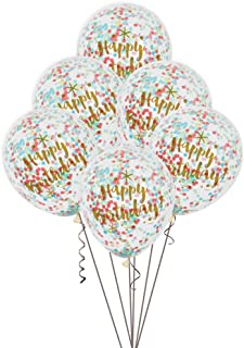 Foil Glitzy Rainbow Happy Birthday Confetti Balloons, 6ct